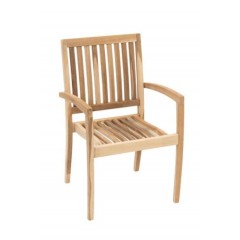 Genuine Teak Wood Reno Stacking Arm Chair