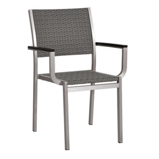 Belize Aluminum Arm Chair in Gray