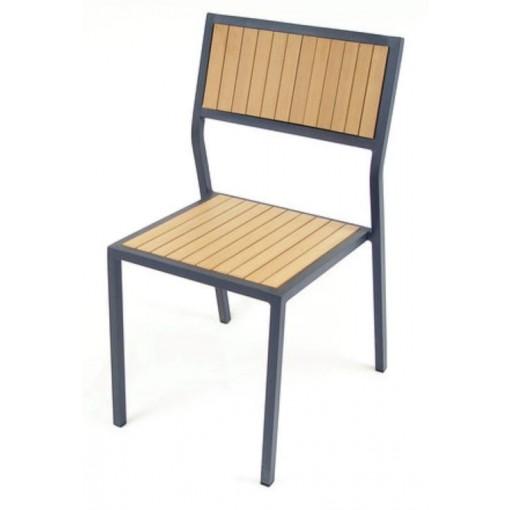 Elegance Side Chair Aluminium & Teak