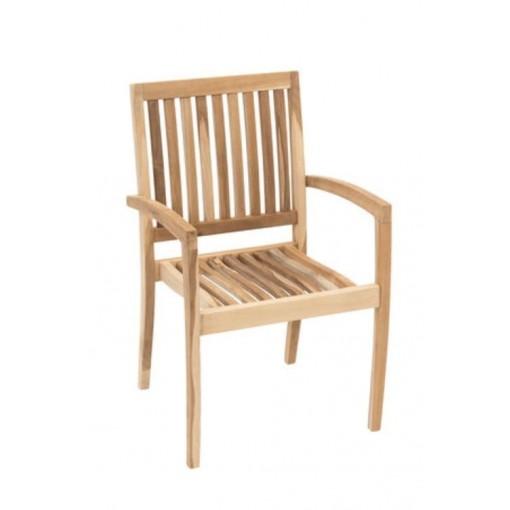 Genuine Teak Wood Reno Stacking Arm Chair
