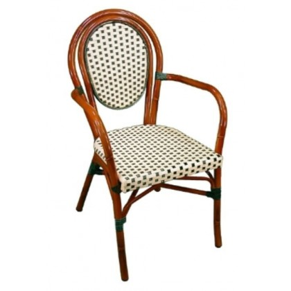 Parisienne Arm Chair in Ivory-Green