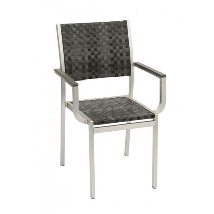 Belize Aluminum Arm Chair in Charcoal