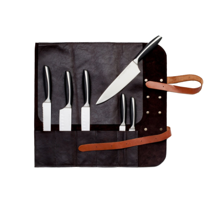 "Handmade leather knife roll ""Utah"" Black - 5 knives"
